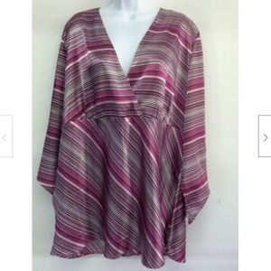 Women's Purple Stripe Empire Waist Tunic 22/24